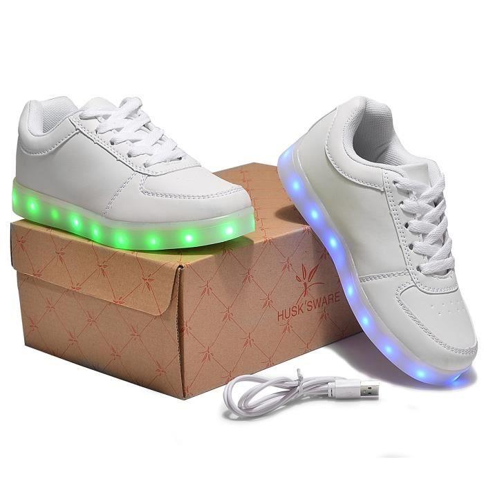 HuskSware® 7 Couleur Enfant Garcon Fille USB Charge LED Lumière Lumineux Clignotants Chaussures de Sports Baskets 70K4d
