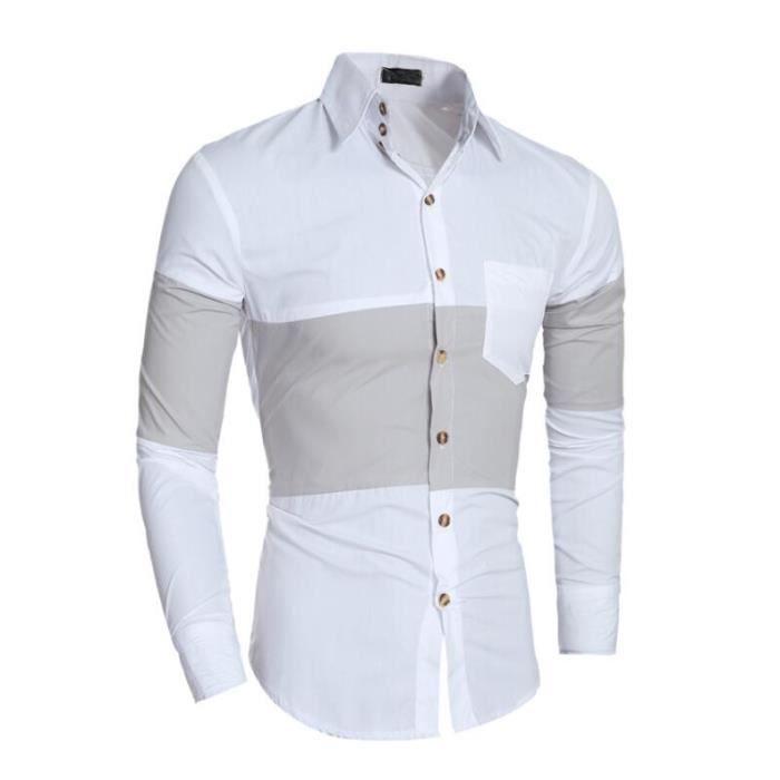 chemise homme manche longue couleur jointive mod u00e8le ajust u00e9 simple el u00e9gant 1 poche frontale