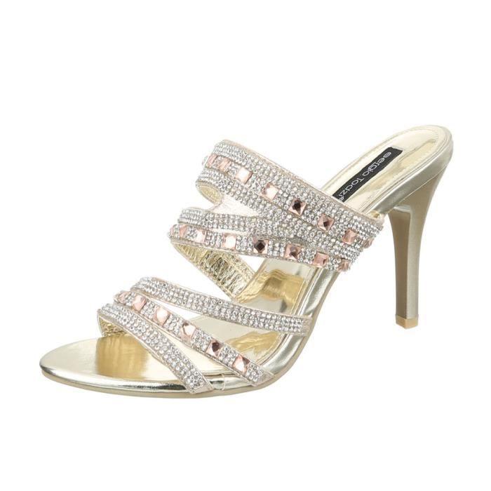femme sandale chaussure sandalette mule or