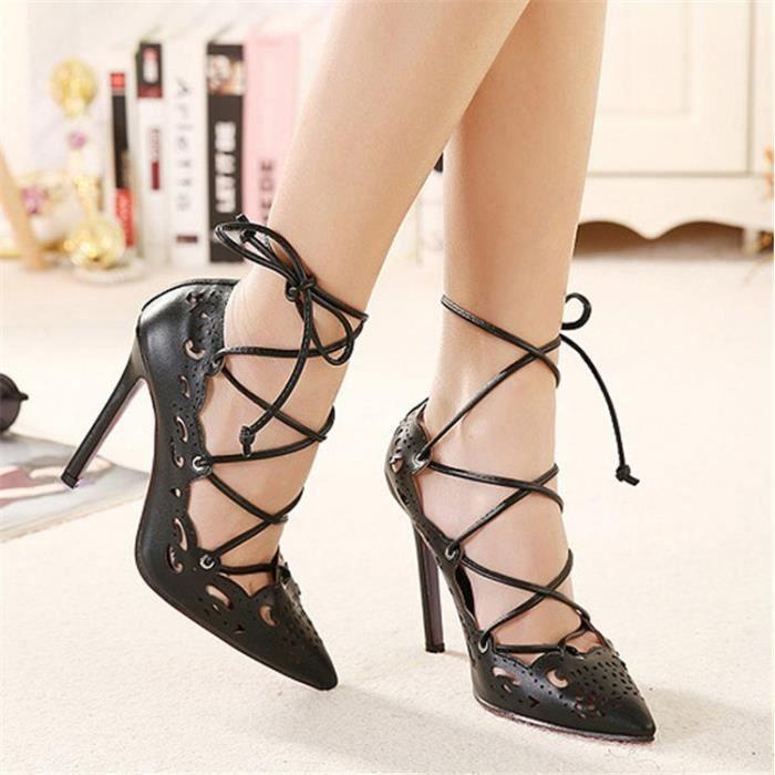 Femmes Mode sexy personnalité creuse fine avec Brochage Chaussures à talons hauts Chaussures de mariage,noir,38