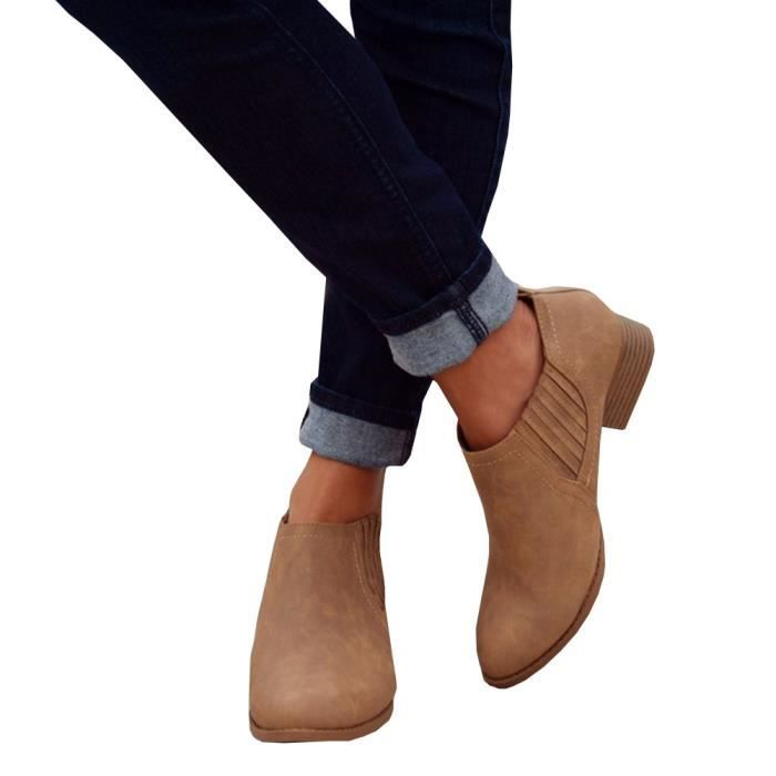 Chelsea Pointed Closed Toe Faux Stacked Low Heel Western Ankle Bootie XZHIL Taille-39 1-2 0DID9