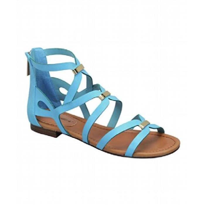 Breckelles Covina Agrémentée Gladiator Crisscross Cut Sandales plates de la femme U6UY9 Taille-39 1-2
