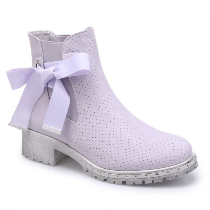 La Modeuse Bottines chelsea parme à lacets Violet - Chaussures Bottine Femme