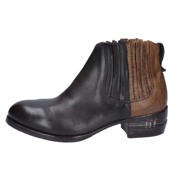 design de qualité affdc 13dc6 MOMA Chaussures Femme Bottine Cuir Marron BX498