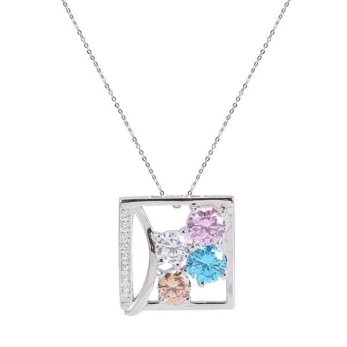 collier pendentif collier en argent Collier pendentif carré zircon couleur argent