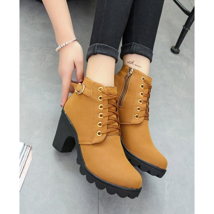 Minetom Hiver Bottines Mode Femmes Haut Talon Lacets Cheville Bottes Boucle Chaussures Martin Bottes