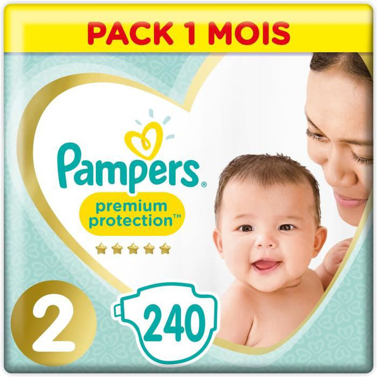 COUCHE PAMPERS New Baby Taille 2 - 3 à 6kg - 240 couches