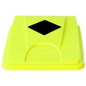 POUBELLE - CORBEILLE COUVERCLE jaune fente carrée collecteur 60/80L
