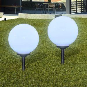 bdf53ccf82591e BALISE - BORNE SOLAIRE Boule solaire extérieure 30cm 2 pièces