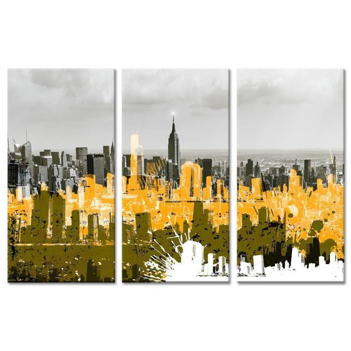 Tableau Déco Triptyque Déco New York et Graphisme - 120x80 cm