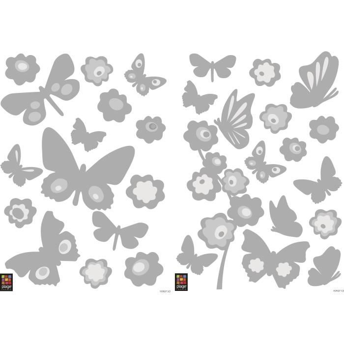 Stickers adhésif mural Taille S - Papillons miroirs argent 2 planches 29,7 x 21 cm, divers motifsSTICKERS - LETTRES ADHESIVES