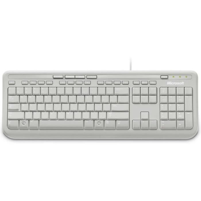 CLAVIER D'ORDINATEUR Microsoft Clavier Wired Keyboard 600 Blanc