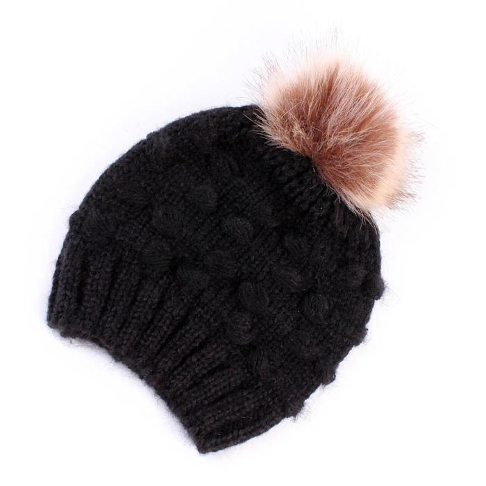 acfea8955d6b Mignon tout-petits enfants fille et garçon Bébé nourrisson hiver chaud  bonnet en tricot crochet Bonnet Cap HYM80903344BK