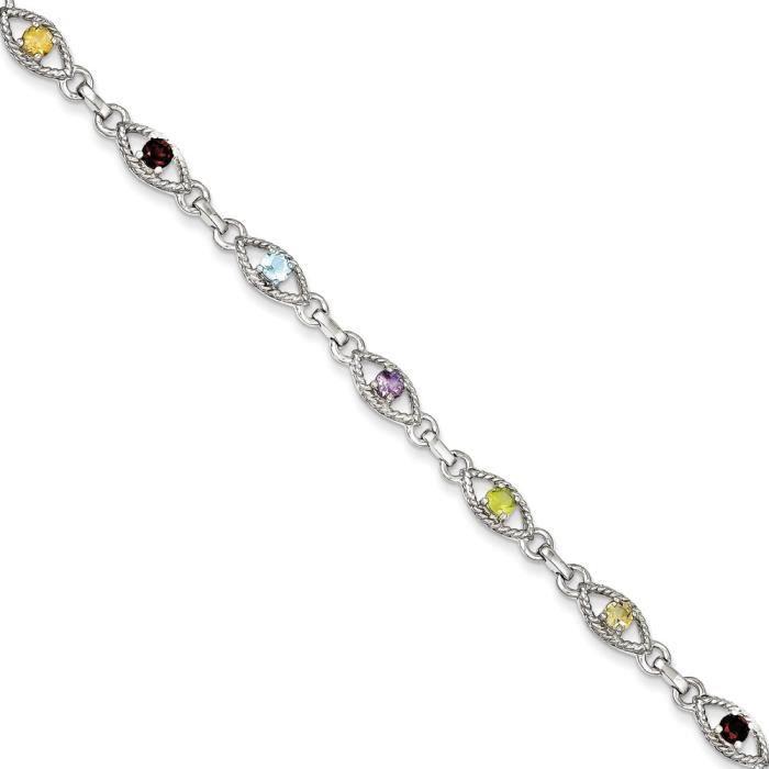 Argent Sterling avec 7 pierres multicolores et Bracelet