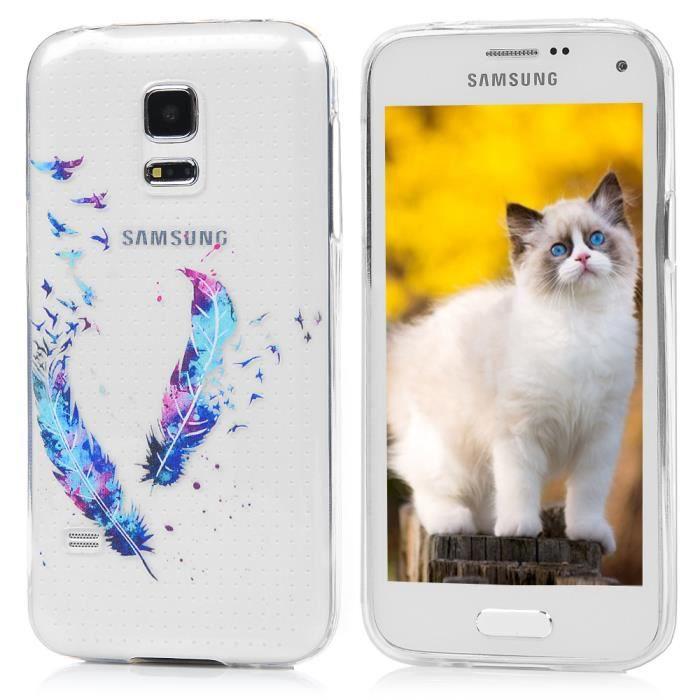 5a29845fe823d4 Galaxy S5 Mini Coque - Antichoc Coque Samsung Galaxy S5 Mini Silicone TPU  Slim Coussin Protection Etui Plume