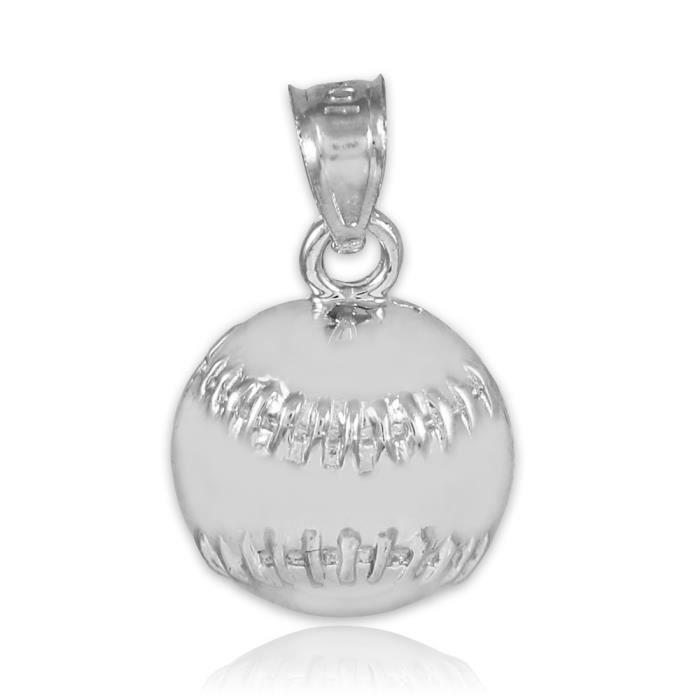 Collier Pendentif10 ct Or 471/1000 sport / Softball Baseball Collier Pendentif Charm Blanc (vient avec une Chaîne de 45 cm)