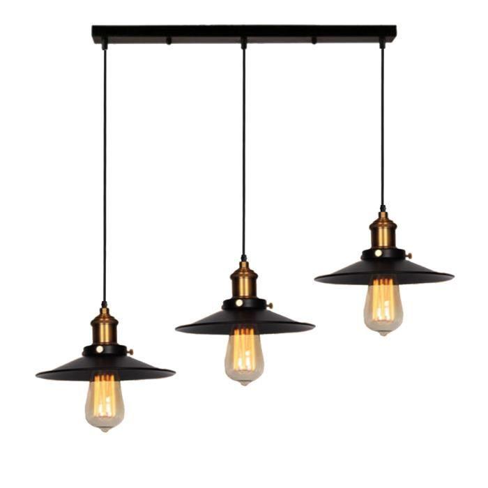 Luminaire À 22cm Uni Abat Vintage Suspension Lampe Rétro 3 Manger Couloir Industrielle Jour Métal E27 Pour Salle Tête Lustre txBsrdChQ