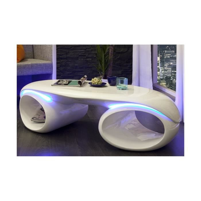 Table Basse Design A Led Laquee Blanc Futura Blanc Achat Vente