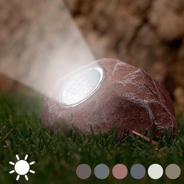Lampe solaire pour jardin en forme de pierre - décoration exterieur ...