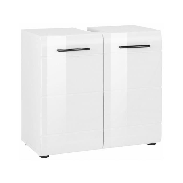 Meuble sous vasque 60 cm avec 2 portes coloris blanc Achat Vente