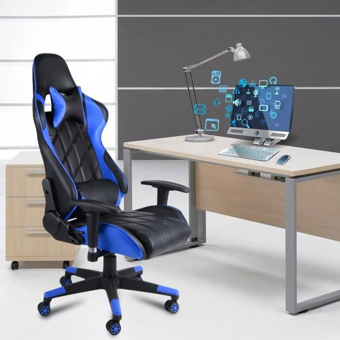 fauteuil gamer chaise de bureau inclinable 150 réglable bleu outad
