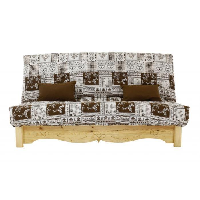 canap convertible clic clac pin massif sculpt 130 x 190 cm vanoise blanc chocolat aspin. Black Bedroom Furniture Sets. Home Design Ideas