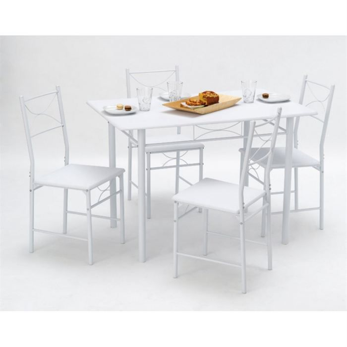 set whitney 1 table 4 chaises achat vente table. Black Bedroom Furniture Sets. Home Design Ideas