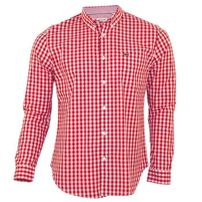 f259af8f50 Chemise LACOSTE homme authentique vichy carreaux blanc rouge Rouge ...