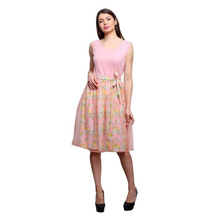 Womens Floral Pink Color Skater Dress MHSGK Taille-42