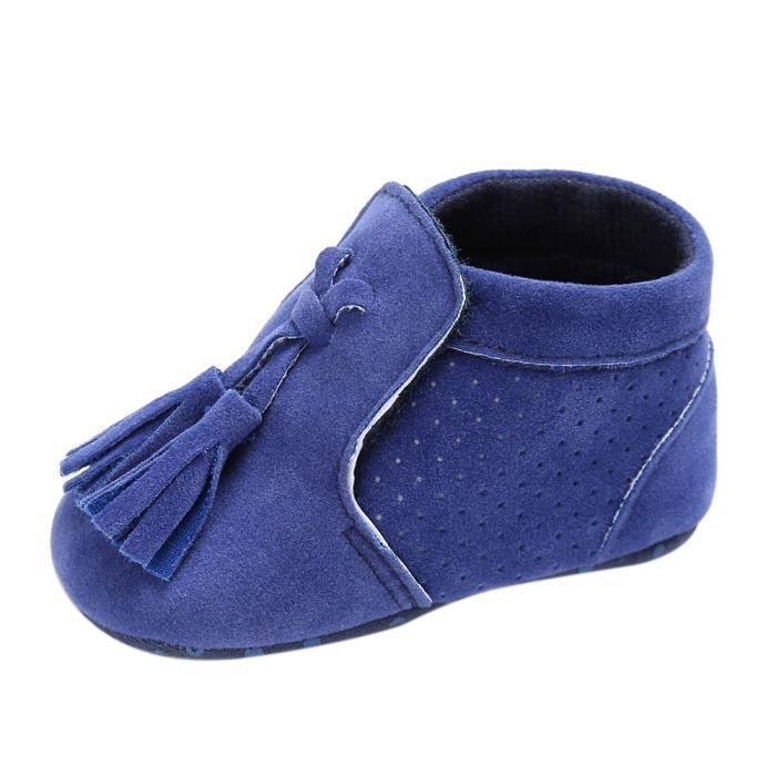 fb0008e2affaa BOTTE Chaussures bébé garçon fille nouveau-né crèche chaussures à semelle  souple BleuHM