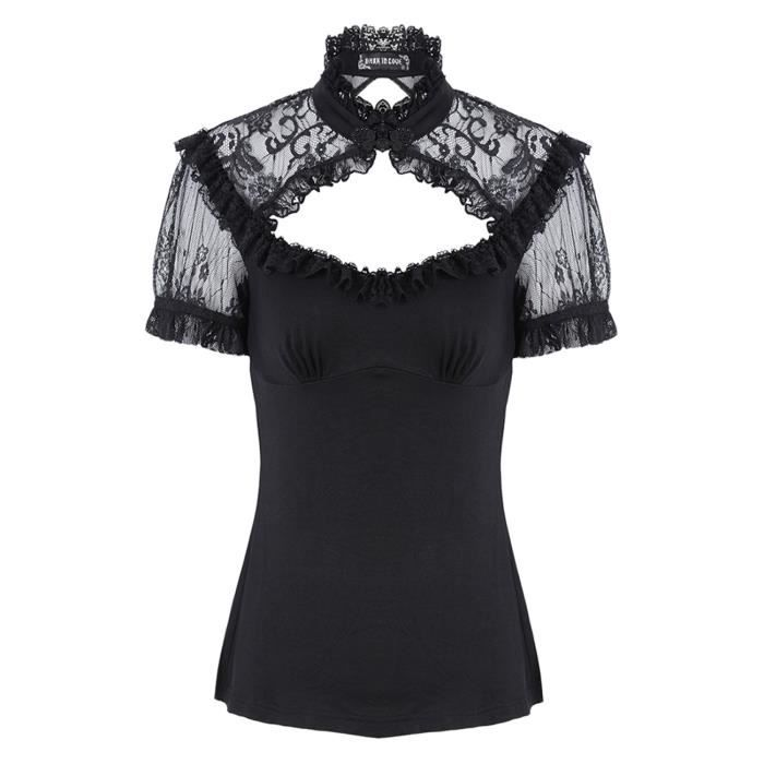 f5764be052caf Top noir haut en dentelle, froufrou, col et dos nu, gothique ...