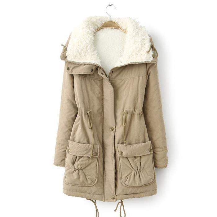 Fourrure Rabattu Chaud Manteaux Veste Slim D'hiver Zareste®femmes Outwear Manteau Col zf4344 Parka De qwtPWddXZ