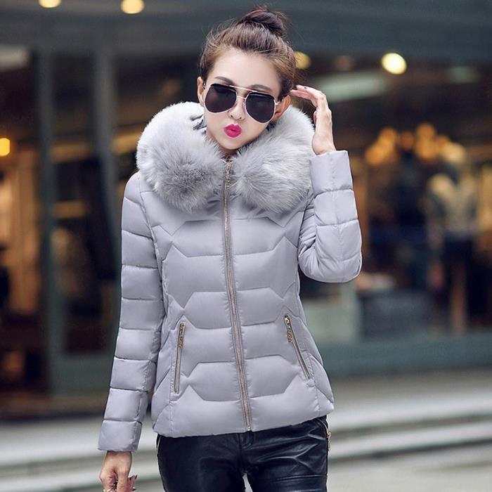 Chaude Femmes Fourrure De Épais Veste Manteau Capuche Qe1212 D'hiver Coton À Col Outwear Parka YU0xY