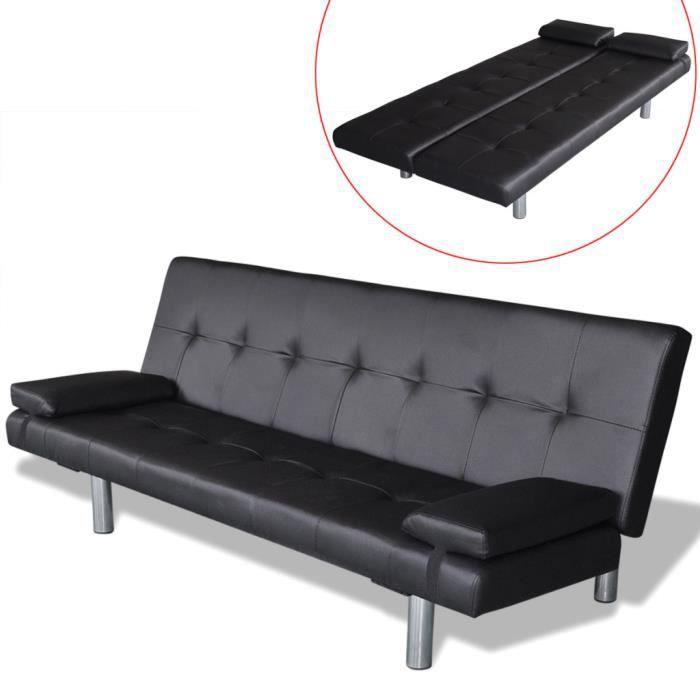 Canapé lit ajustable Clic clac en bois cuir artificiel pour