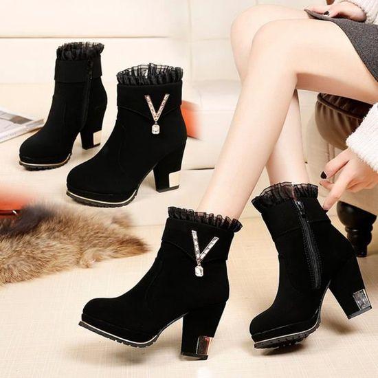 Cristal Martin Dentelle Chaussures Ronde Toe Fermeture Femmes De En Noir Flock Haut éclair Bottes byY76vfg