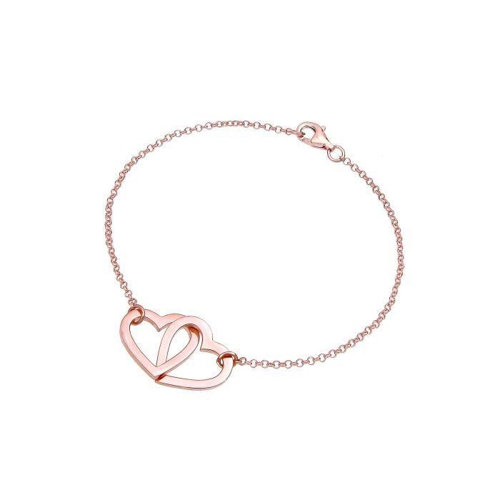 Elli Bracelet Chaîne Coeur - Argent 925 Plaqué Or - 18 Cm Z2SVT