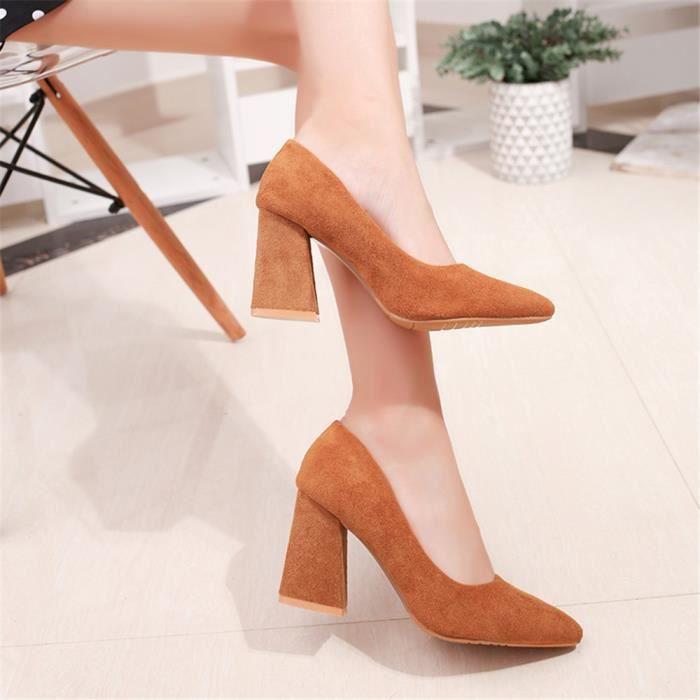 2018 Chaussures noir 41 rouge roux Extravagant Elgant De Couleur Classique Plus Escarpin beige Marron Mode 33 Femmes qpwHYSx