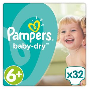 COUCHE PAMPERS Baby Dry Taille 6+ - 16+kg - 32couches -