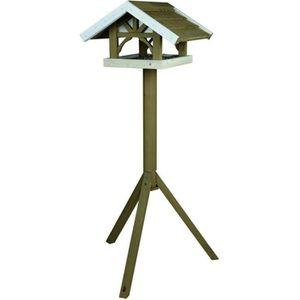 NATURA Mangeoire oiseaux avec pied 45 × 28 × 44 cm/1,25 m gris blanc