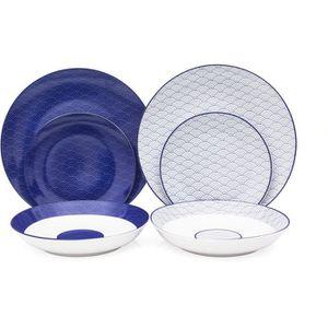 SERVICE COMPLET Service de Table 18 pièces en porcelaine 2 motifs