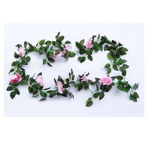FLEUR ARTIFICIELLE rose 2pcs 2.5m Vigne Guirlande Fleur Artificielle