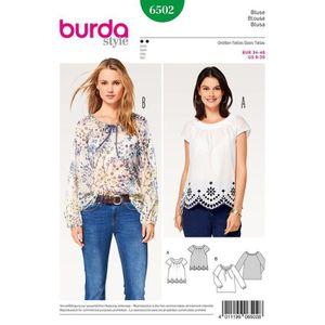 Patron Burda Top tee shirt manches longues épaules découpées top avec noeud