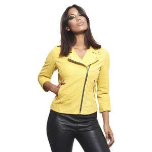 72cf5ba07a90 BLOUSON KCC • couleur jaune • vesteperfecto en cuir velour