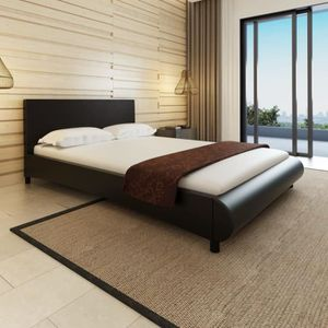 Lit Grand Cadre de lit Moderne 140 x 200 cm Cuir artificiel Noir ...