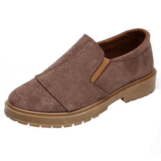 Femmes Low Ankle Trim Round Toe Leather Boots Casual Slip-on Martin Shoes Kaki_XZ*6512  Kaki - Achat / Vente slip-on