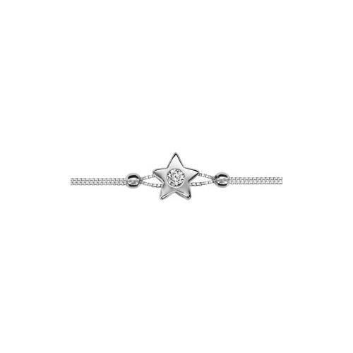 Bracelet argent rhodié double chaîne motif étoile