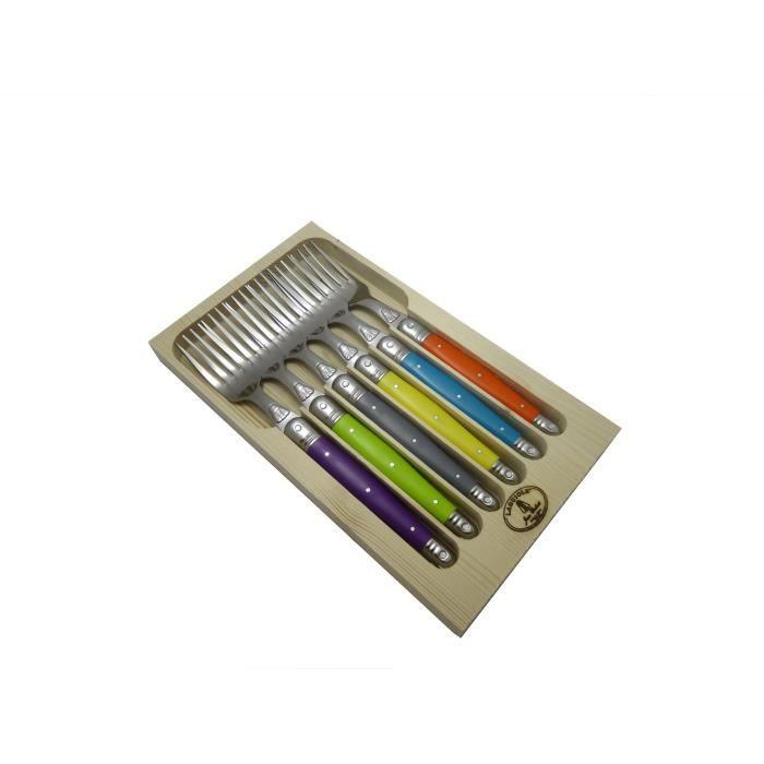 LAGUIOLE Lot de 6 fourchettes - Inox - Manche ABS couleurs trendy