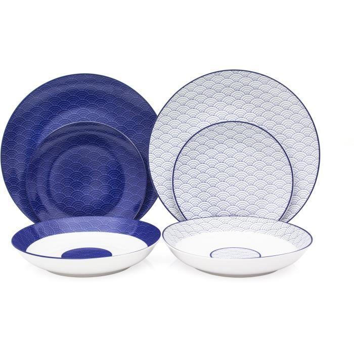 chaussures de sport 53698 5add9 Service de Table 18 pièces en porcelaine 2 motifs Mix and Match bleu et  blanc