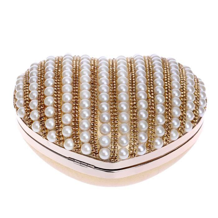 POCHETTE Pochette Sac de Soirée en Perles Coeur Pour Femme