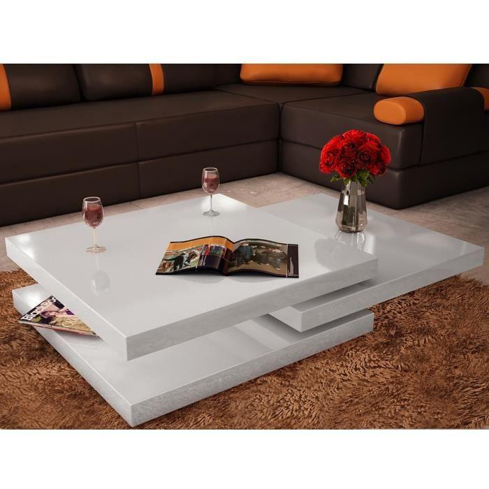 énorme réduction 6da07 38a84 P152 Table basse blanc laque carree pivotante 3 plateaux ...